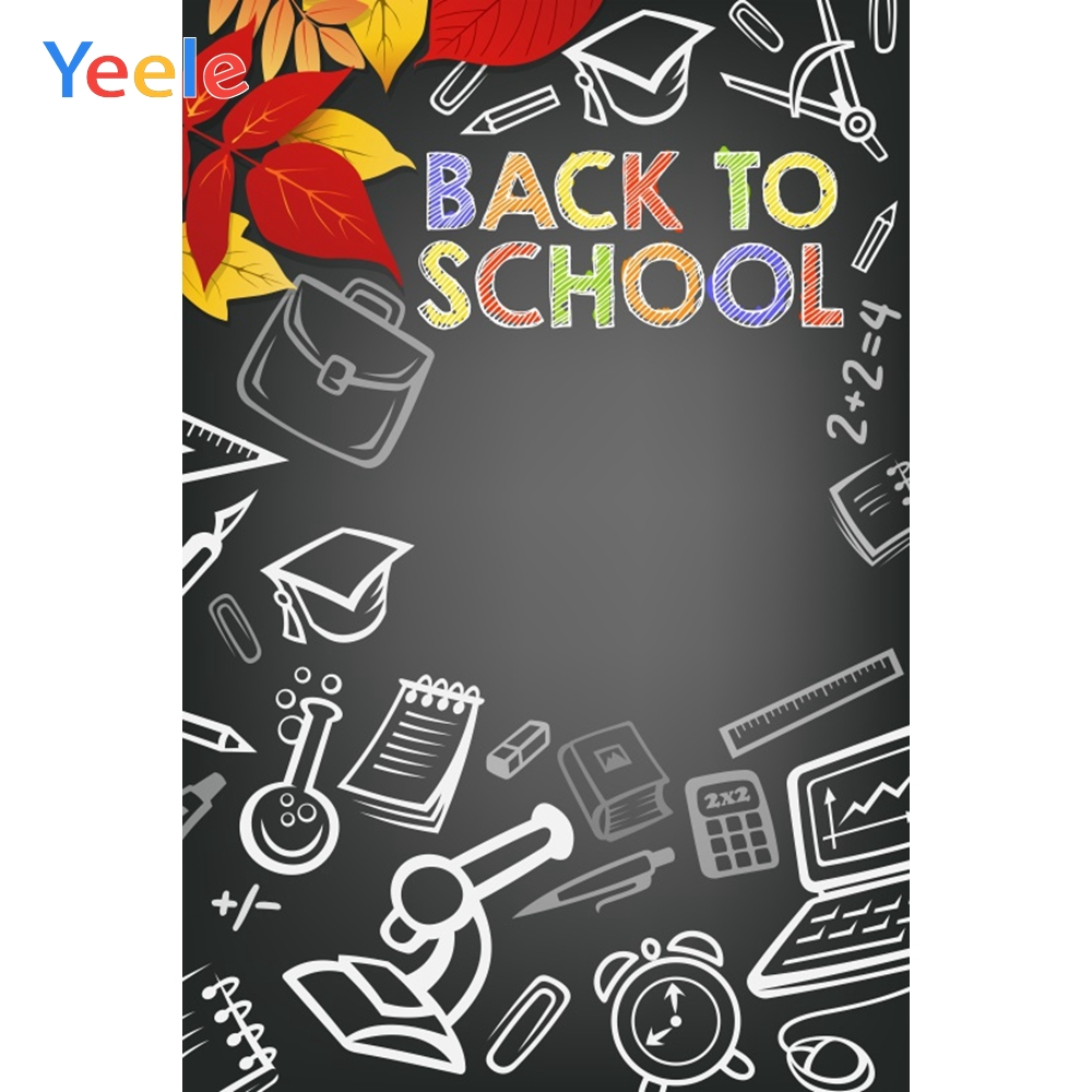 Yeele Blackboard Drawing Leaves Back to School Autumn Photography Backgrounds Customized Photographic Backdrops for Photo Studio