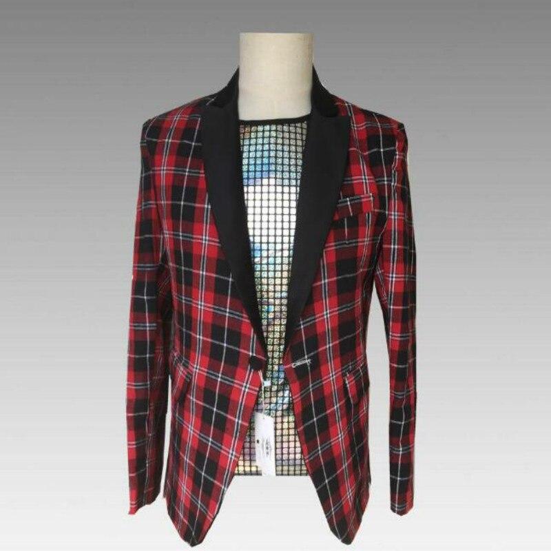 European And American Style 2019 New Fashion Men's Slim Red Plaid Casual Blazer