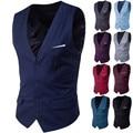 9 Color Men's Business Casual Slim Vests Fashion Men Solid Color Single Buttons Vests Fit Male Suit For 2018 Spring Autumn S-6XL