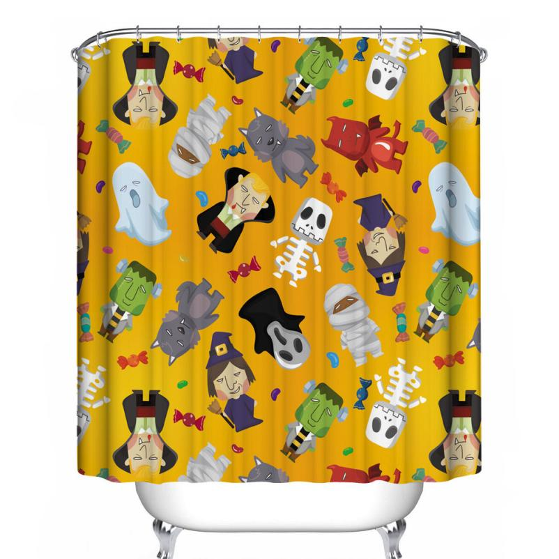 Fashion Happy Halloween Waterproof Polyester Fabric Shower Curtain 66 x 72inch#921
