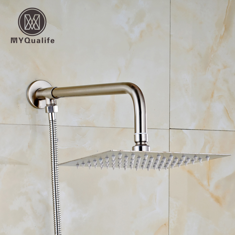Brushed Nickel 8 Quot Rainfall Ultra Thin Shower Head Wall