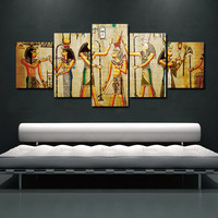 5pcs Abstract Ancient Egyptian Decorative Oil Painting On Canvas Home Decor Wall Picture For Living Room