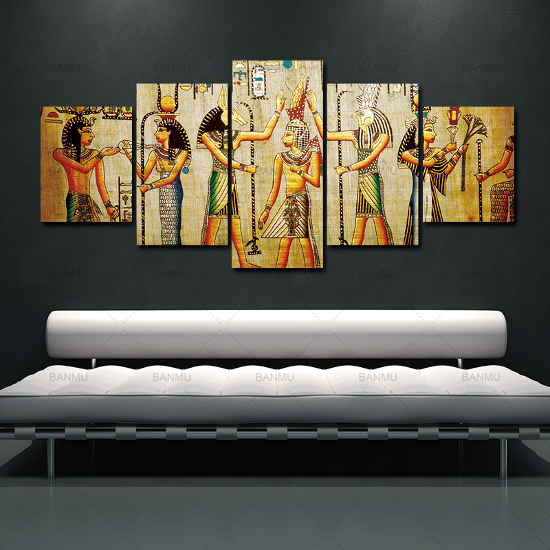 canvas painting 5pcs Abstract Ancient Egyptian Decorative Oil painting On Canvas Home Decor Wall picture For Living Room art set