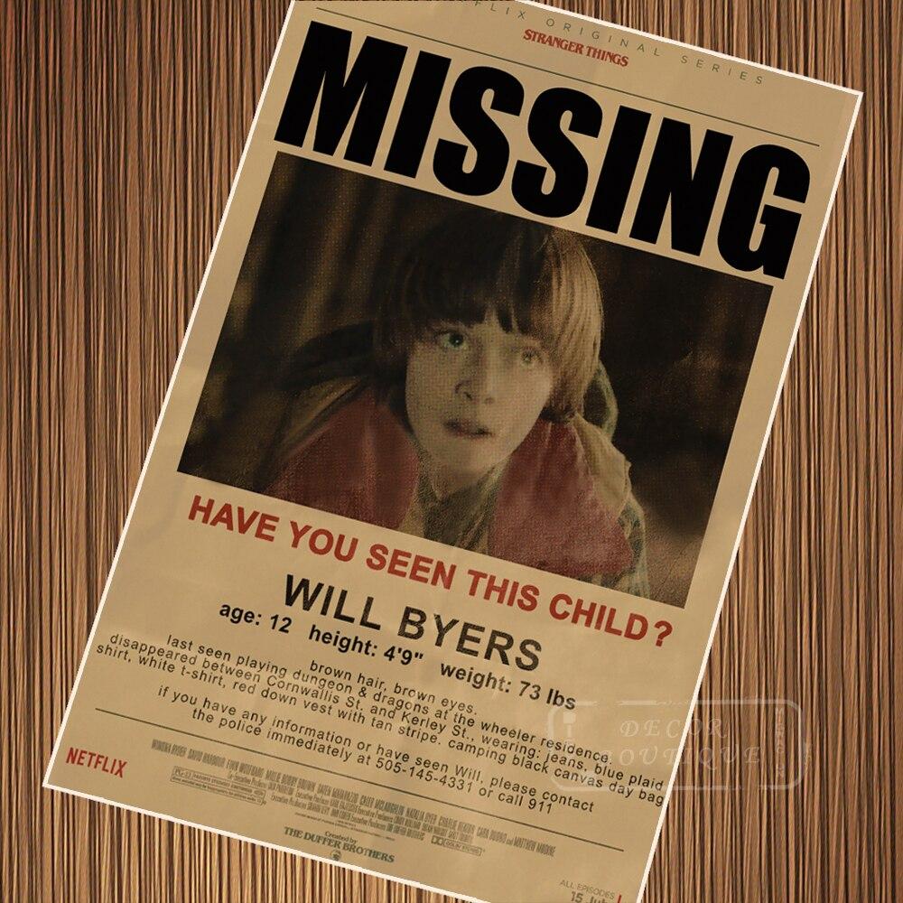 Missing Child Notice Stranger Things Retro Vintage Poster ...
