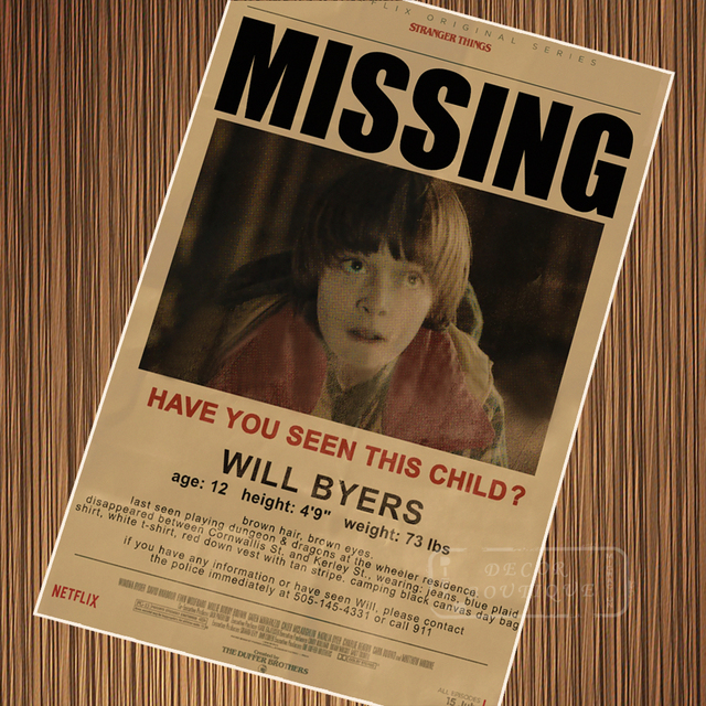 Missing Child Notice Stranger Things Retro Vintage Poster Canvas Painting Diy Wall Paper