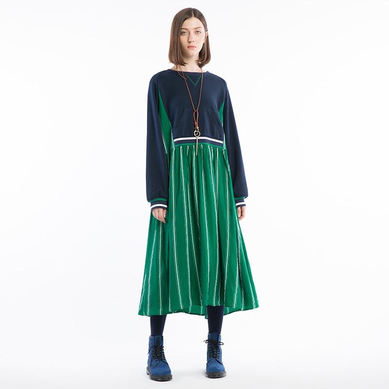 IRINAW018 design original nouveaux arrivants 2018 à manches longues o cou une ligne rayé cupro patchwork décontracté lâche longue robe femmes