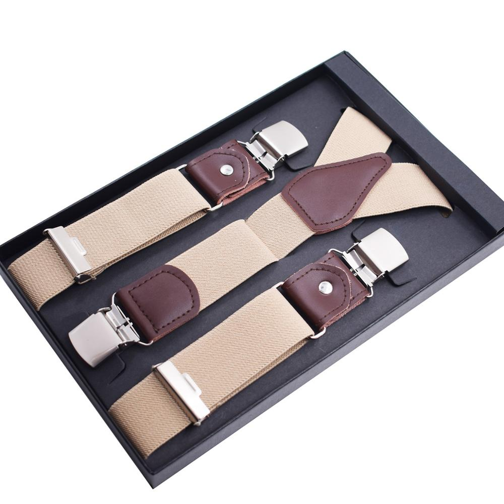 Fashion Suspenders Men's Elastic Braces Leather Mens Trouser Clips End Adult Suspensorio Tirantes Hombre Bretelles 3.5*120CM