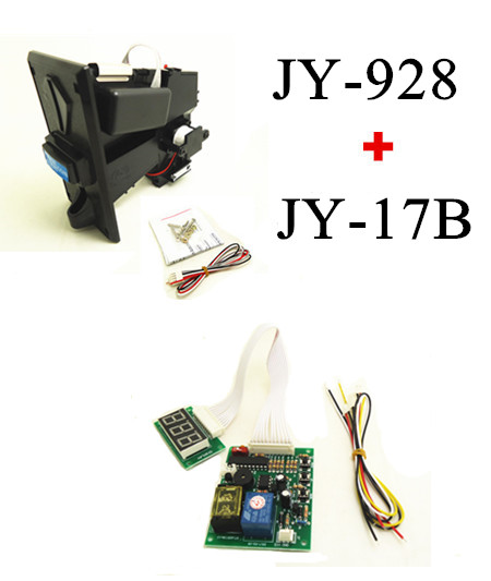 1 KIT of JY-928+JY-17B coin acceptor with timer board coin operated time control device for cafe kiosk for 1-8 kinds of coins small condoms vending machine with coins acceptor with 5 choices