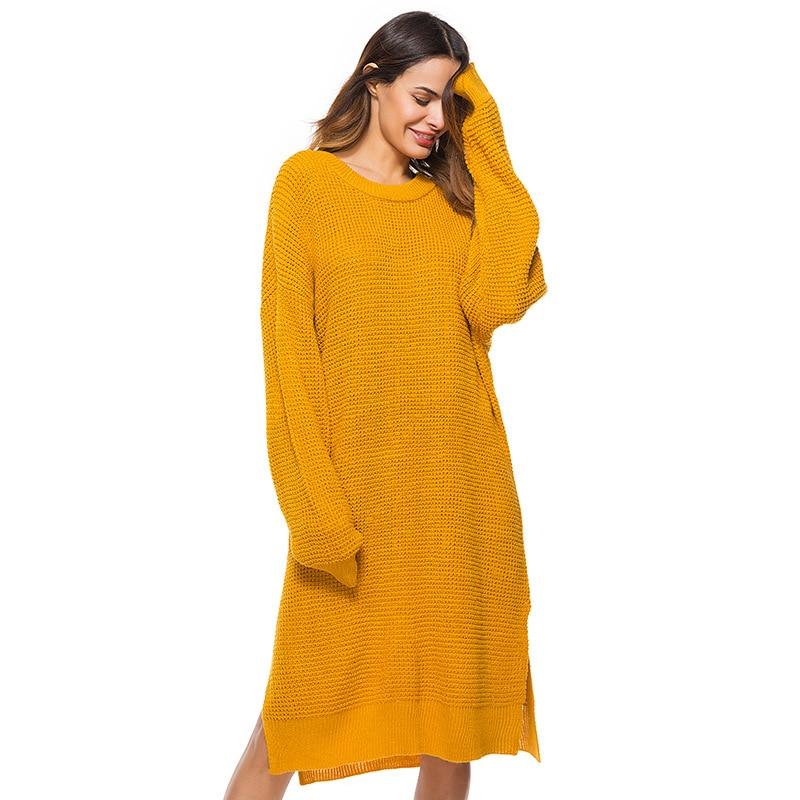 Fall Winter Vintage Mustard Side Slit Crochet Sweater Dress for Women Cute Ladies Retro Cosy Loose Split Boho Pullover Dresses