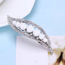 New Cute Crystal Imitation Pearl Barrettes Leaves Hair Clip Hairpin Headwear for Women Gift Fashion Hair Jewelry Accessories