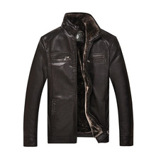 AIBIANOCEL 2016 Men PU Leather Thicken Jackets Plus Cash With Fur Liner Jaqueta Couro Winter Mens
