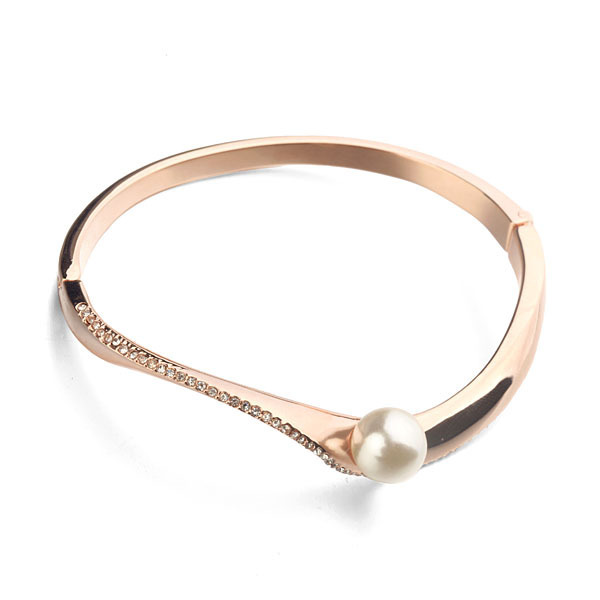 AAA Pearl Bracelet  Italina Brand  Rose White Gold Plated Environmental Alloy Bangle For Women Girls