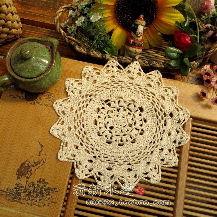 ZAKKA Handmade 22cm Round flower Lace Doilies Crochet Coaster Table Place mats Crochet cup mat 10pcs/Lot