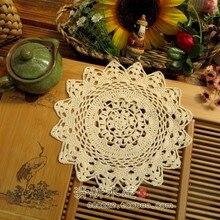 ZAKKA Handmade 22cm Round flower Lace Doilies Crochet Coaster Table Place mats cup mat 10pcs/Lot