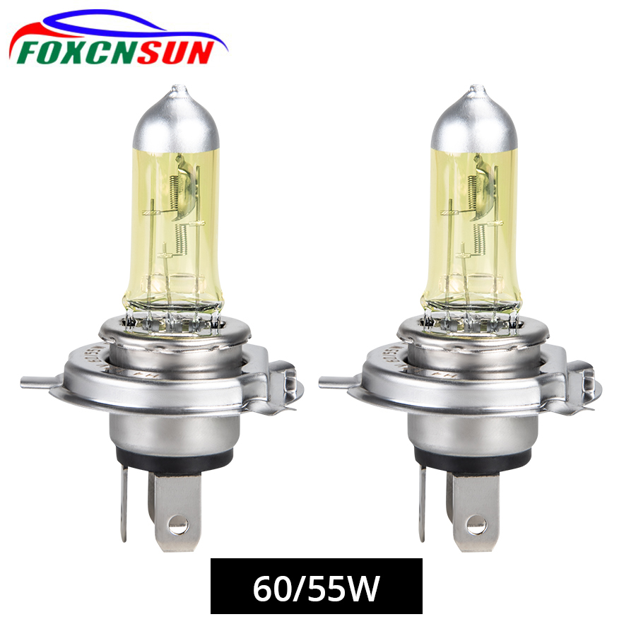 Foxcnsun 1PCS Yellow Car Halogen Lamp 55W 100W H4 H7 Auto Halogen Bulb Fog Lights 12V