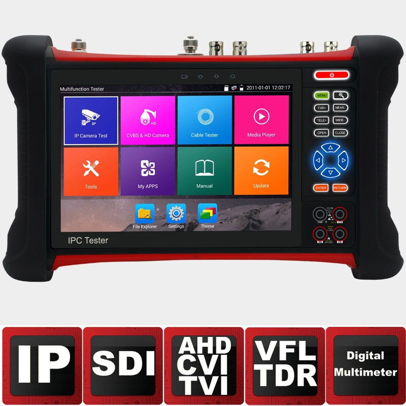 7inch IP Camera Tester Security CCTV Tester CVBS Monitor Analog Tester with SDI/TVI/AHD/CVI/HDMI/TDR/Optical PowerMeter/VFL/POE цены
