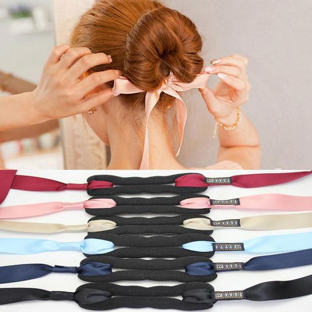 Mulheres moda Acessórios de Cabelo Novo Cabelo Cachos Cabeça Pão Fabricante de Cabelo Faixa de Cabelo Magia Ferramenta de Tomada de Fita Bowknot Bun Criador nova