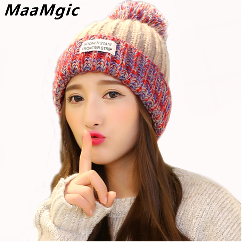 Wholesale New Pom Poms Women Winter Warm Hats Casual Beanies Fashion Crochet Knitting Hat Brand Thick Female Girl Cap sport Hat fashion children warm winter hats boys grils double layer knit hats beanie cap with pom poms skullies brand new thick winter cap