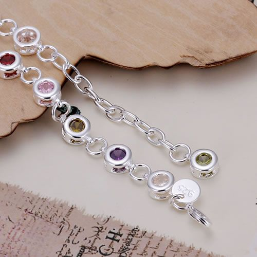 Silver Fashion Jewelry 925 Jewelry Silver Plated Bracelet Free Shipping Round Co