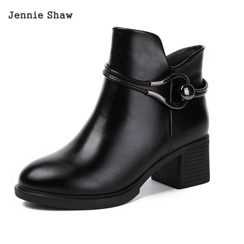 Winter Genuine Leather Thick Heel Female Martin British Style Women Ankle Boots Sys-1561 martin new winter with thick british style short canister female fall side zipper boots