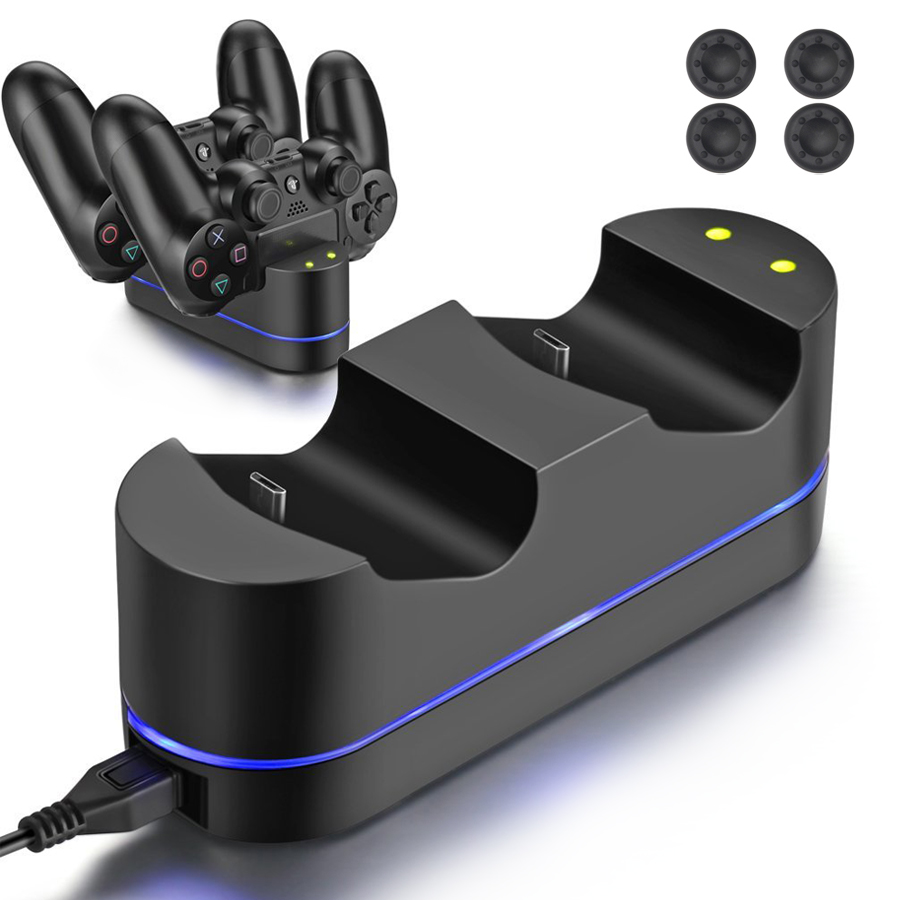 5V PS4 LED Indicator Dual USB Controller Fast Charging Station Dock Charger & 4 Thumbstick Caps for Sony Playstation 4 PS4 gamepad controller charger charging station for ps4 controller led dual charger dock station usb fast charging stand