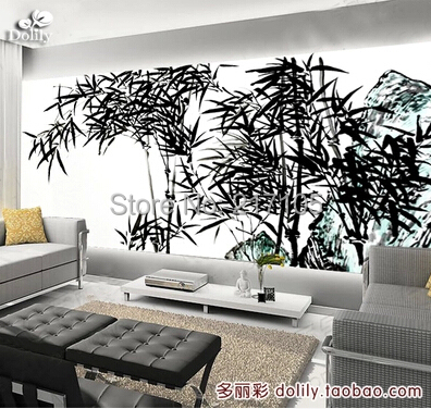 Free shipping large murals bedroom TV wall background wallpaper The traditional Chinese painting bamboo 7 colors optional beige floral wallpaper damask wallpaper pvc wall murals free shipping best wallpaper qz0314