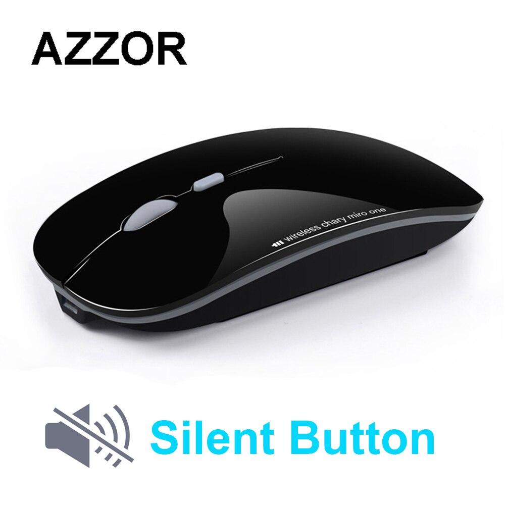 AZZOR N5 ratón inalámbrico recargable mudo silencioso USB ratón óptico de 2,4 GHz Super Slim Mouse ratones para PC Tablet
