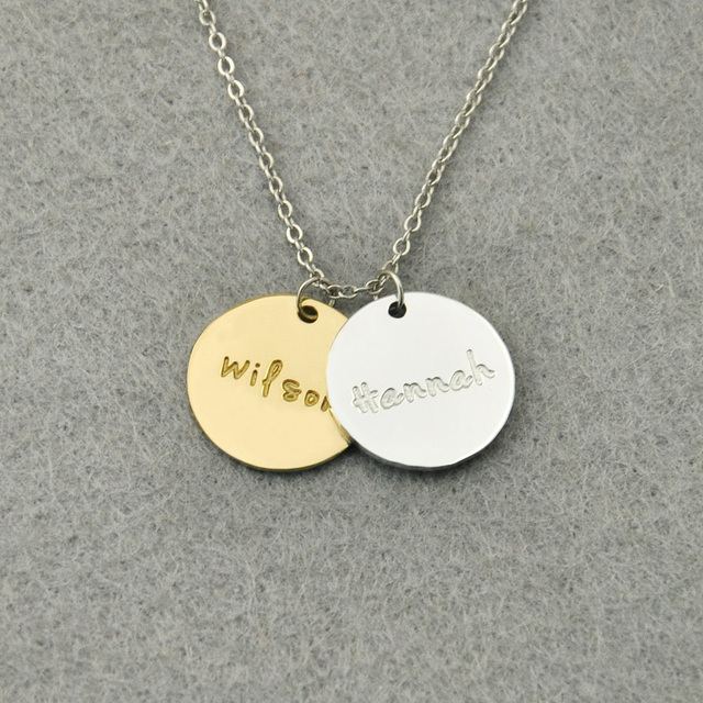 personalized name discs necklace engraved name necklace custom names gift for family friends