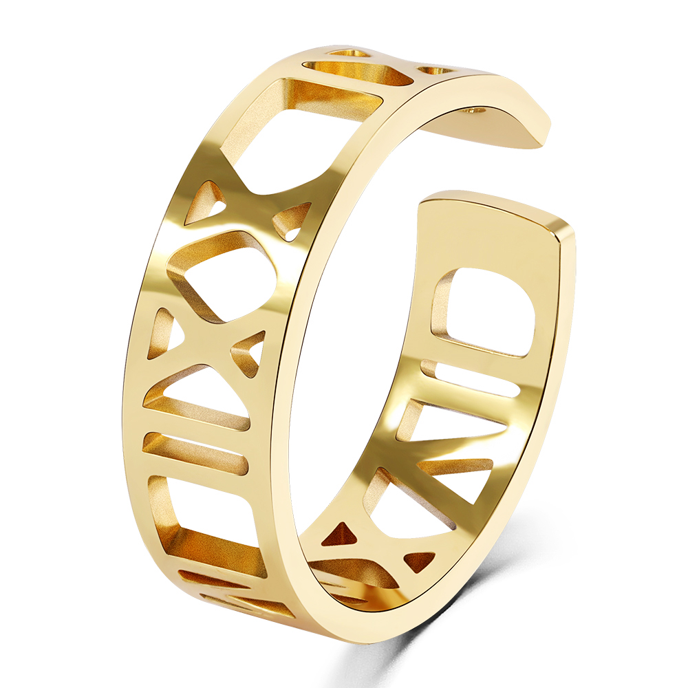3UMeter Custom Roman Numerals Ring Personalized Jewelry Gold Filled Customized Numbers Stacking Engagement Promise Ring for gift
