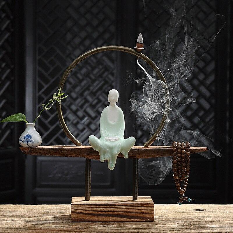 Творческий китайский стиль Керамика уникальный монах обратного потока благовония Brurner с деревянным стулом комплект дома книги по искусст
