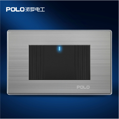Free Shipping, POLO Luxury Wall Light Switch Panel, 1 Gang 1 Way 118*72MM, Push Button LED Switch, 10A, 110~250V, 220V free shipping polo luxury wall light switch panel 2 gang 2 way champagne black push button led switch 10a 110 250v 220v