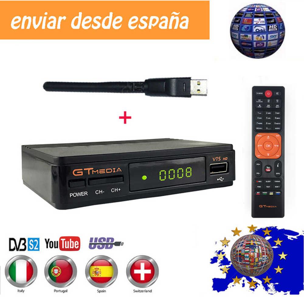Vendita calda Ricevitore TV Satellitare Gtmedia V7S HD Recettore Supporto Europa Cline per la Spagna DVB-S2 Decoder Satellitare Freesat V7 HD