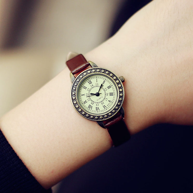 Fashion Classic Vintage Magic Rome Small Dial Watch Slim Leather Strap Quartz Wristwatch For Elegant Ladies Girls