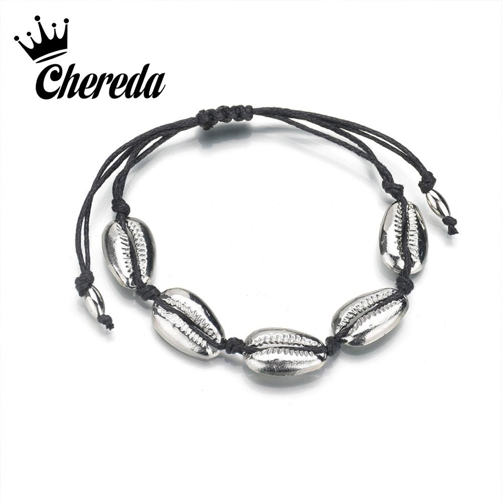 Chereda Gold Silver Seashell Pendants Bracelet for Women Charm Bracelets Bangles Femme Beach Summer Female Friendship Jewelry