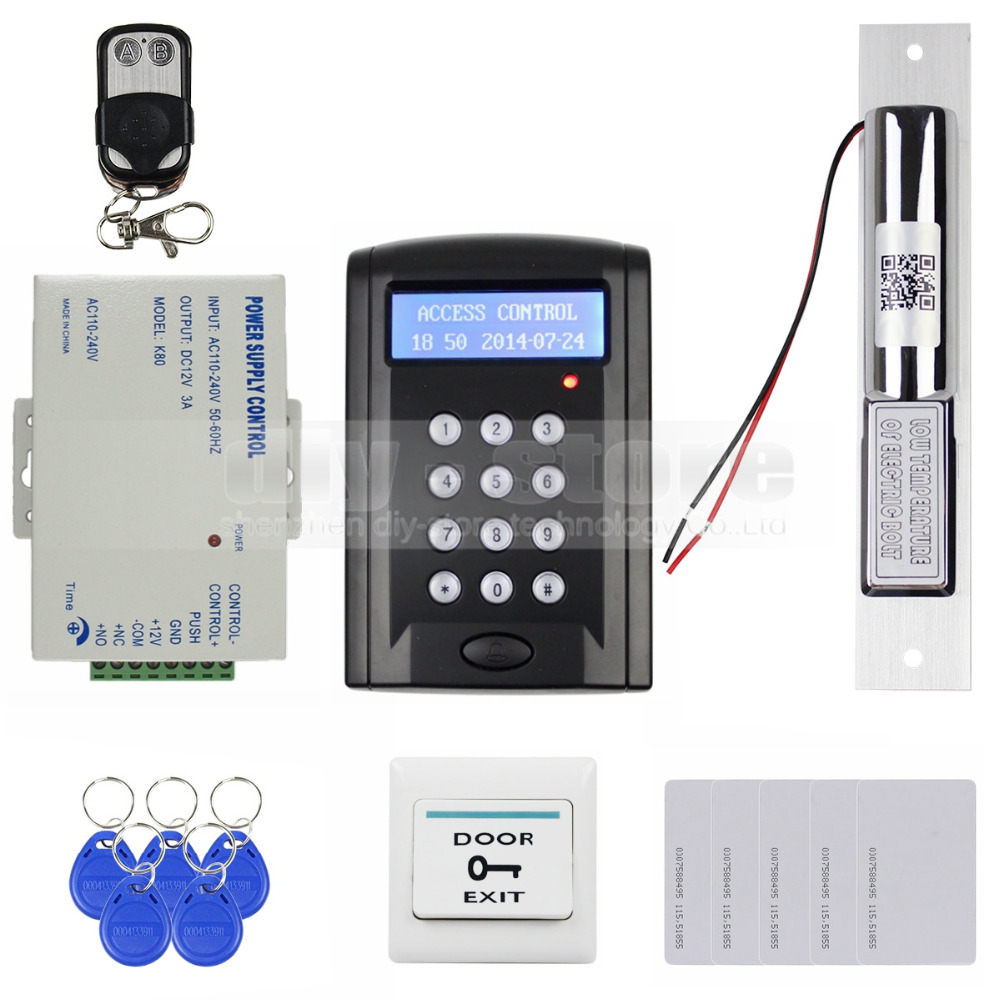 DIYSECUR Remote Control 125KHz RFID Keypad Door Access Control Security System Kit + Electric Bolt Lock + Exit Button B100 diysecur 125khz rfid metal case keypad door access control security system kit electric strike lock power supply 7612