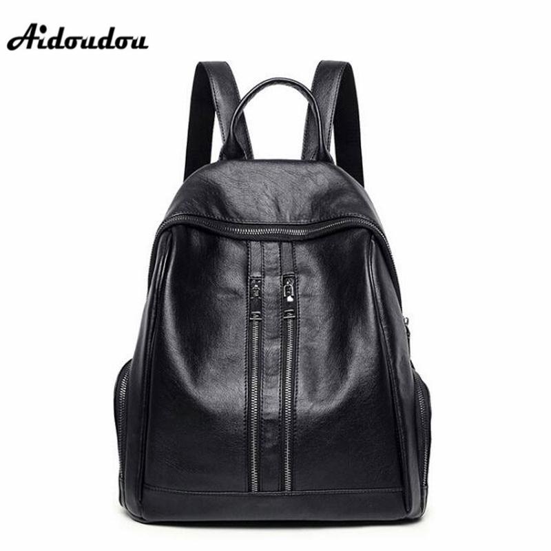 AIDOUDOU Fashion Trendy Backpacks Split Leather Women Backpack Zipper Big Capacity Travel Double Shoulder Bags Black