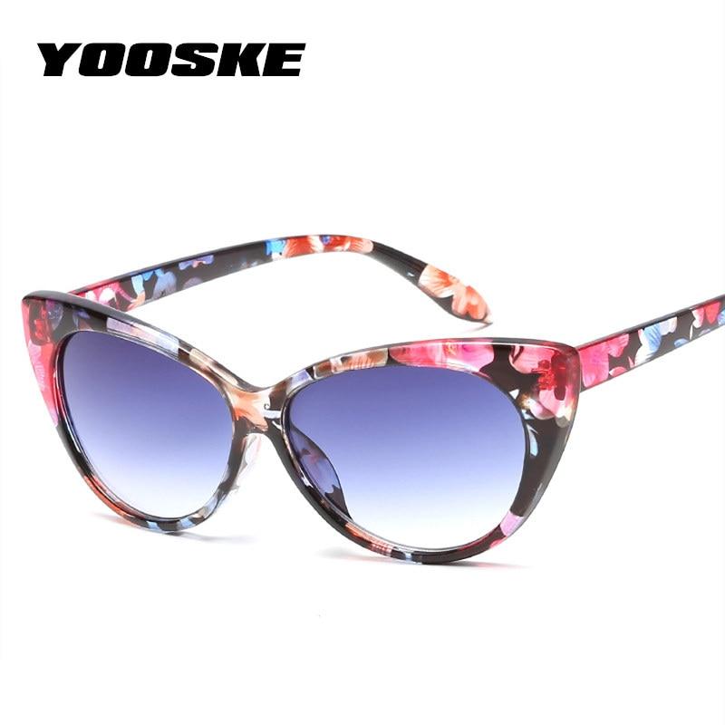 YOOSKE Charm Cat Eye Sunglasses Women Vintage Sun glasses Transparent Lens Glasses Frame Curve Design Katie Holmes Eyeglasses