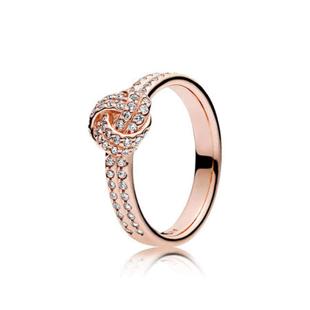 Online Shop Authentic 925 Sterling Silver Sparkling Love Knot Ring for Women  Clear CZ Rose Gold Color For Women Wedding fit Lady Jewelry  917db10d8