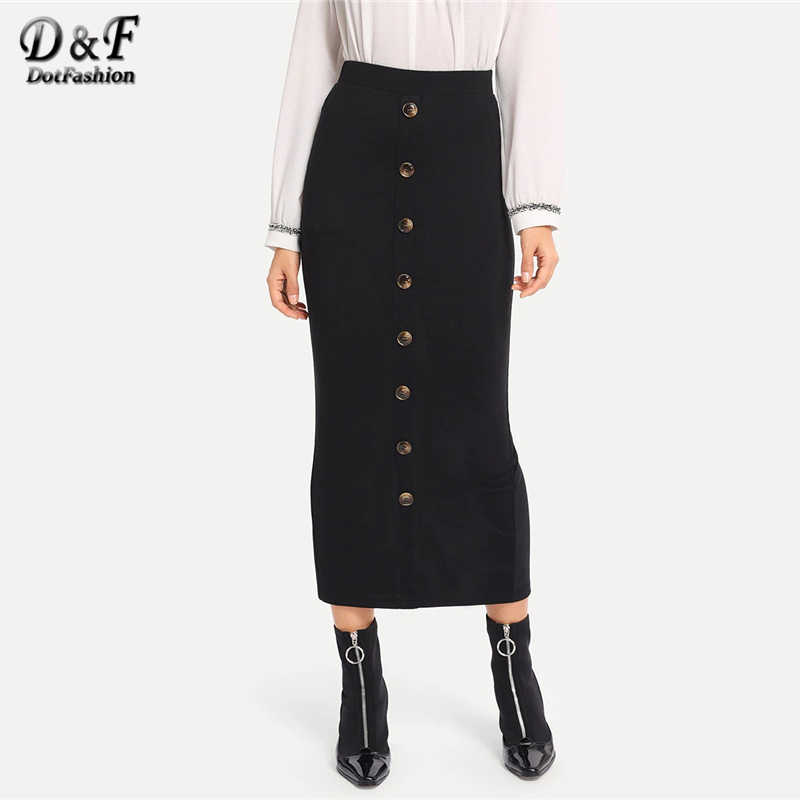 9ac4fb13a9c3 Dotfashion Black Button Front Bodycon Skirt Ladies 2019 Fashion Autumn  Casual Mid-Calf Skirts For