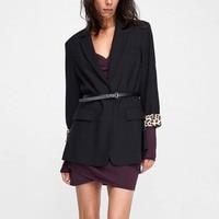 2018 Fall Office Lady Black Plus Size Women Blazers Loose Casual Button Plain Girls Fashion Preppy Style Female Overcoats