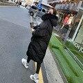 Inverno novas mulheres Coreanas longo comprimento joelhos grosso plus size casaco grande gola de pele com capuz amassado maré jaqueta de algodão quente MZ1192