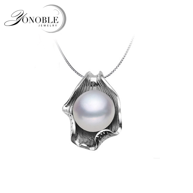 YouNoble Freshwater pearl pendant for women,real white natural pearl pendants 925 sterling silver jewelry daughter best gift