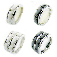 High Quality 316L Titanium Steel Black White Single Row 2 Row Ceramic Men And Women Lovers