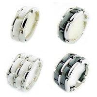 Hohe Qualität 316L Titan Stahl Schwarz Weiß Einreihige 2 Zeile Keramischer Männer und Frauen Liebhaber Keramische Ringe Frauen Geschenk