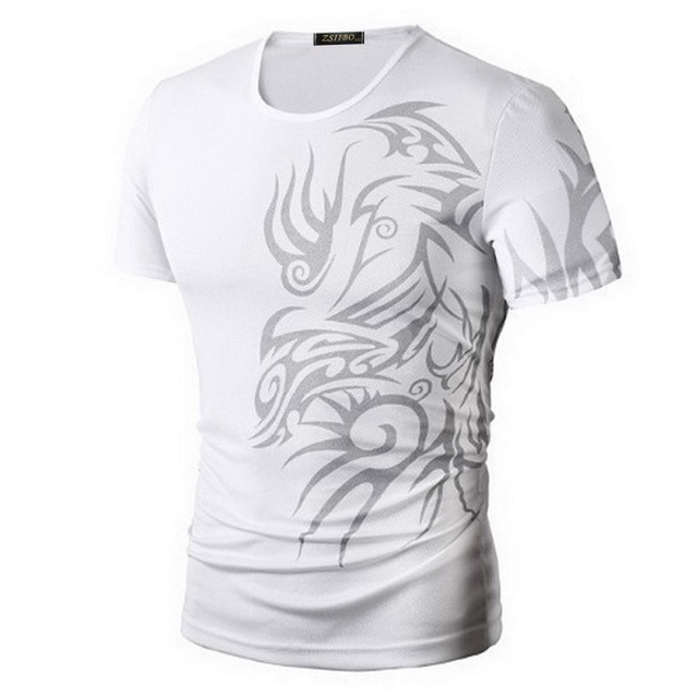 Classical Fast Dry Leisure Print T Shirts Men's Novelty Dragon Print Tatoo Male O Neck T Shirts Short Sleeve 5 Colors TX70 P