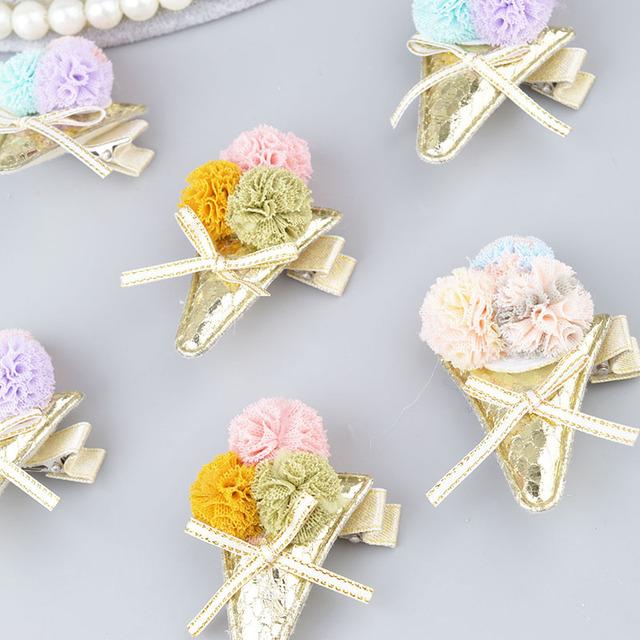 Handmade toddlers hair clips kids girls safe hair accessories headdress hair bow flower ice-cream bow barrette A311