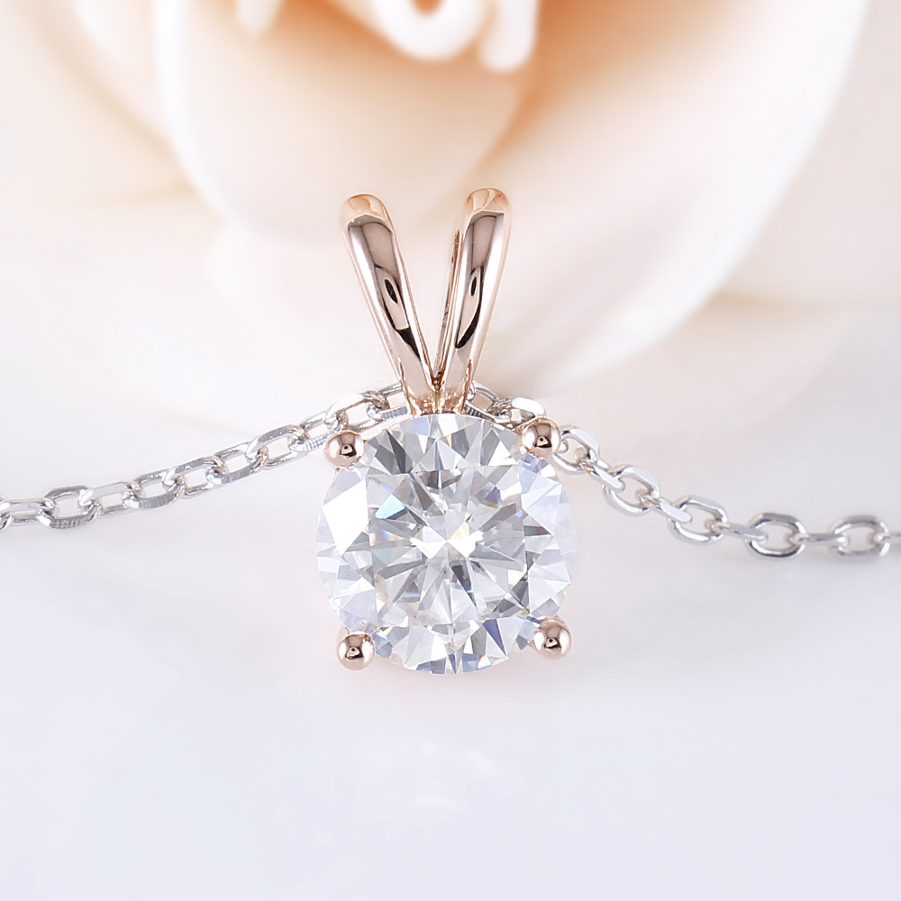 DovEggs Delicate Solid 14K Rose Gold 6 5mm GH Color Moissanite Diamond Pendant For Women Hearts Arrows Cut Moissanite Pendant in Necklaces from Jewelry Accessories