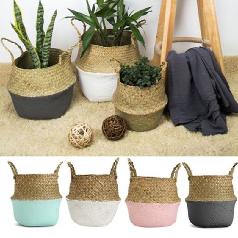 Foldable Handmade Bamboo Storage Baskets Laundry Straw Patchwork Wicker Rattan Seagrass Belly Garden Flower Pot Planter Basket