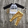 "2016 Cílios cair meninas boutique de roupas de Lantejoulas de ouro ""got it from my mom"" pant outfit com colar combinando e conjunto arco"