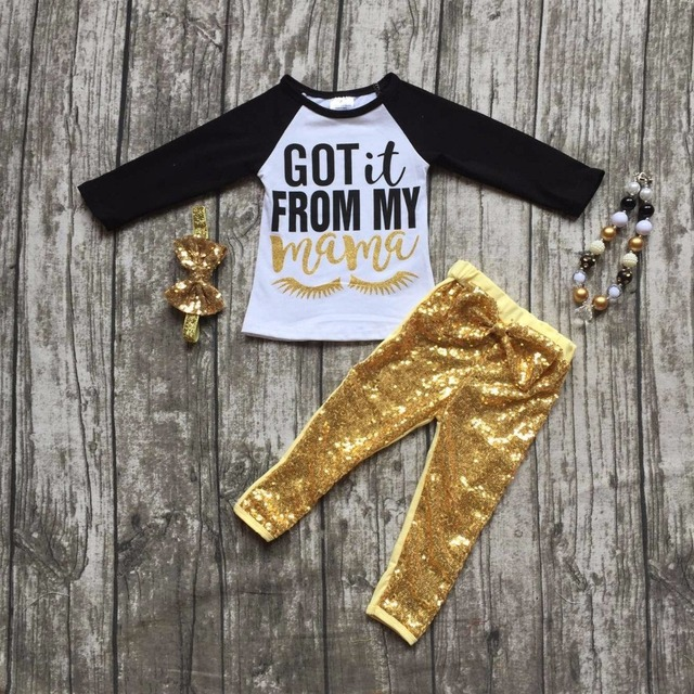 "2016 Eyelash fall girls boutique clothing gold Sequins""got it from my  mom"" pant outfit  with matching necklace and bow set"